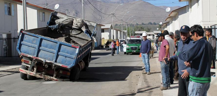 Preocupación entre vecinos de población Antakari por hundimiento del pavimento