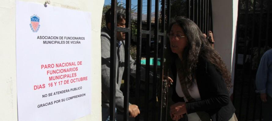 Funcionarios municipales de Vicuña se adhieren por 48 horas al paro nacional de la ASEMUCH