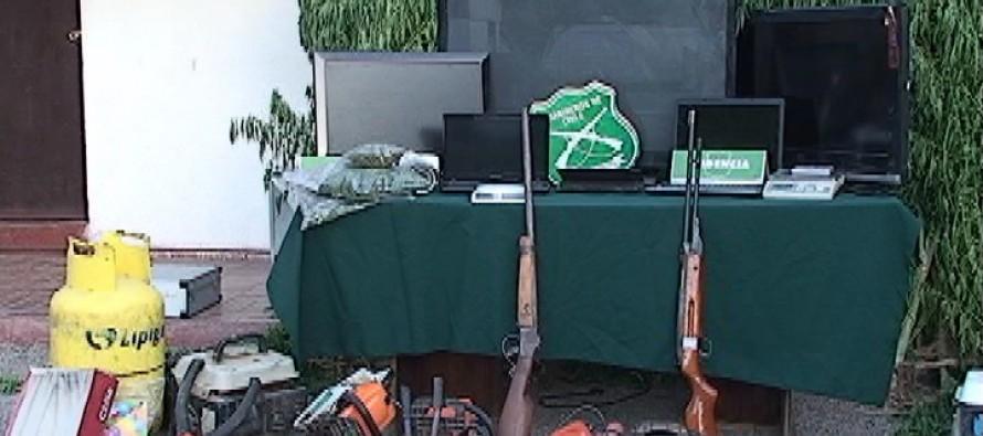 Incautan 78 matas de marihuana, armamento y especies robadas en domicilio de Lourdes