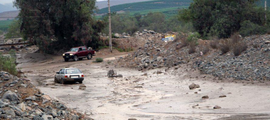 Quebrada de Leiva produce los primeros problemas por las lluvias en el Valle del Elqui