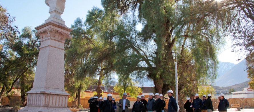 Un 23% de avance presenta remodelación de Plaza de Armas de Vicuña