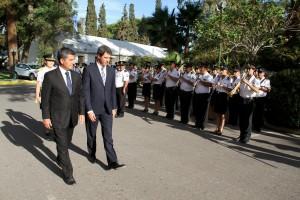 policia de san juan da bienvenida a intendente de coquimbo y gobernador de san juan