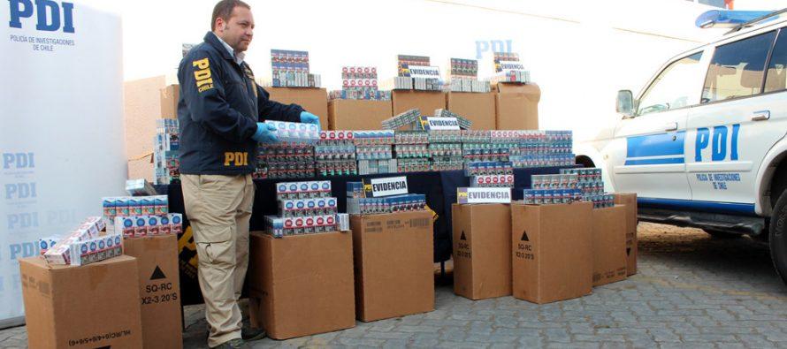 PDI recupera más de 11 mil cajetillas de cigarros robadas a camión de Chile Tabacos en Quebrada de Talca
