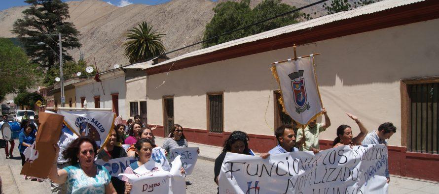 Funcionarios públicos de Paihuano se movilizaron en apoyo al paro nacional de la ANEF