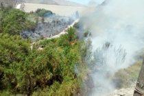 Incendio de Puclaro quemó vegetación e infraestructura de seguridad de la JVRE
