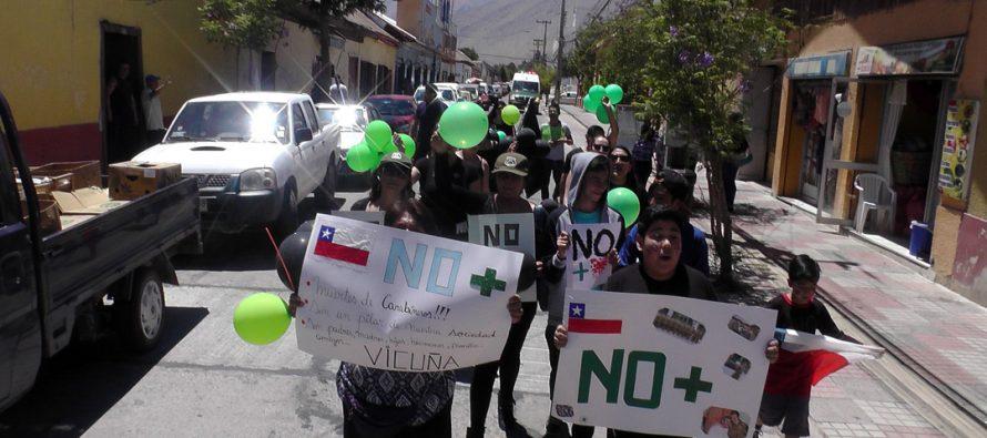 """Vicuña se sumó a la marcha nacional """"No + Violencia"""" en contra de Carabineros"""