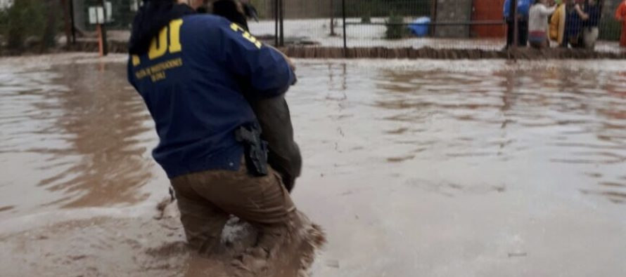 Detectives PDI cooperan en evacuación en localidad de Pelicana