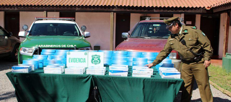 Más de 1200 cajetillas de cigarros ilegales fueron incautadas por Carabineros de Vicuña