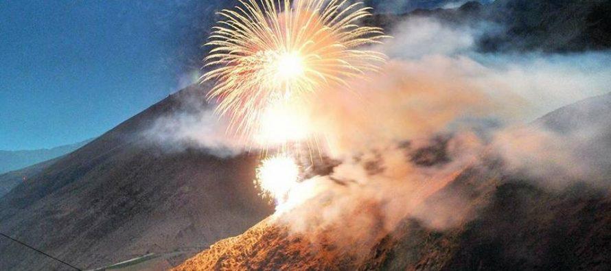Paihuano recibió el 2018 con espectáculo pirotécnico en el cerro Fundo El Ajial