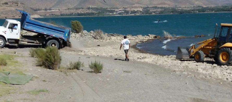 En Gualliguaica se realizaron trabajos de mejoras para las orillas del embalse Puclaro