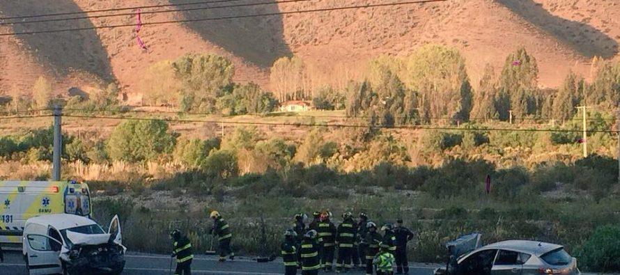 Tres lesionados dejó colisión en ruta internacional 41 CH en El Molle