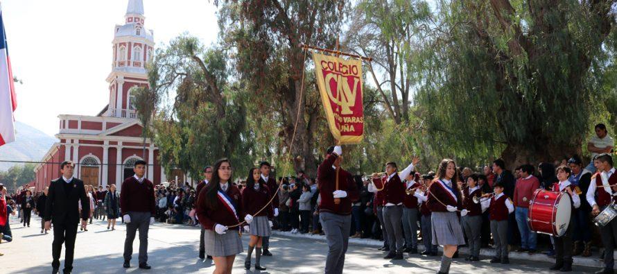 Se inician los actos y desfiles que conmemoran Fiestas Patrias en la ciudad de Vicuña