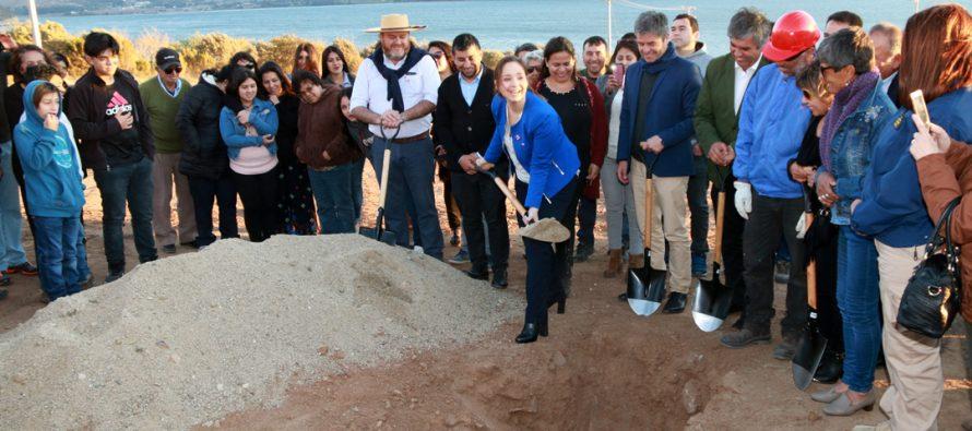 Familias de Gualliguaica colocaron la primera piedra de sus futuras viviendas