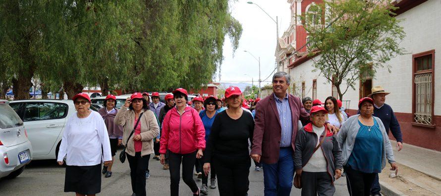 Adultos Mayores de Vicuña  participaron con entusiasmo de la caminata para celebrar su mes