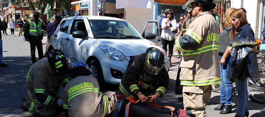 Con un simulacro de accidente se busca crear conciencia en los conductores de Vicuña
