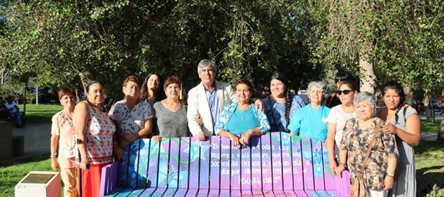 Plaza Gabriela Mistral cuenta desde este mes de marzo con banca conmemorativa de la mujer