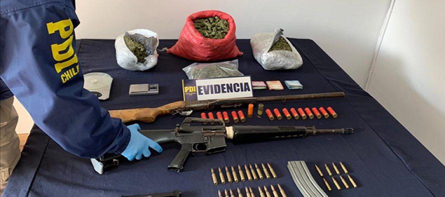 PDI incauta droga y un fusil de guerra en medio de operativo en El Tambo