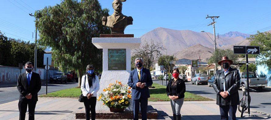 Con ofrenda floral rinden homenaje a las Glorias Navales y la figura del héroe Arturo Prat en Vicuña