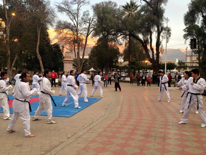 Photo of Maestros coreanos de taekwondo se presentaron junto a deportistas elquinos en plaza de Vicuña